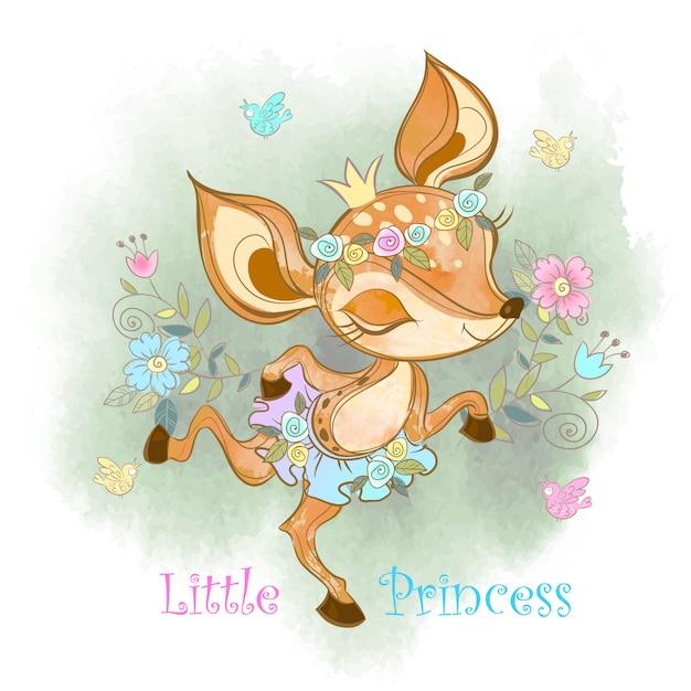リトルプリンセス。かわいい子鹿の女の子。 Premiumベクター