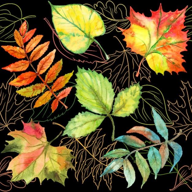 Бесшовный фон с осенними листьями. Premium векторы