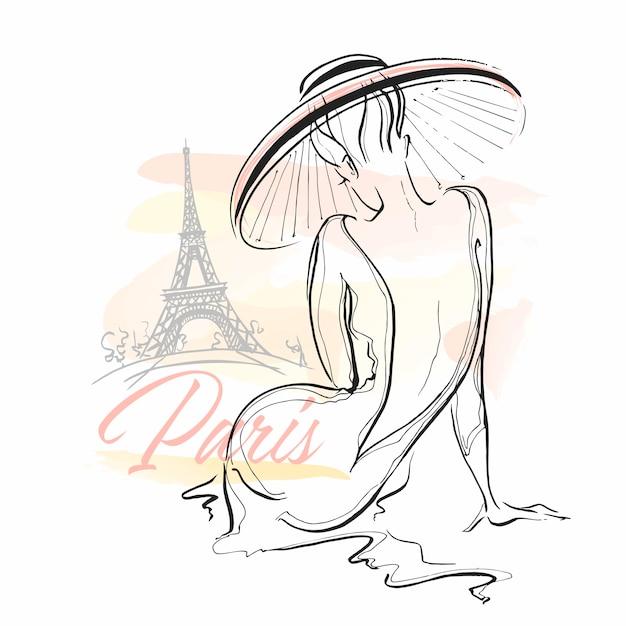 Элегантная девушка в шляпе в париже. стильная модель. Premium векторы