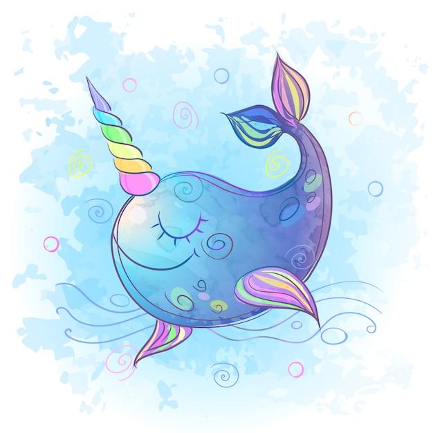 Милый сказочный единорог кит. акварель. Premium векторы