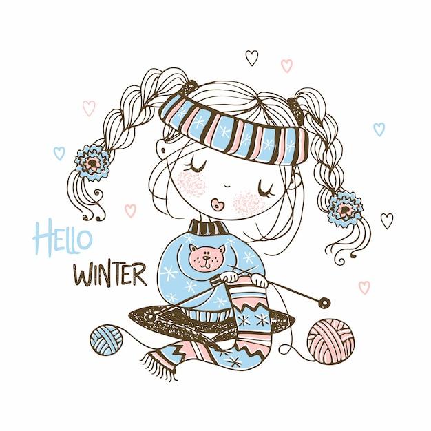 Симпатичная девушка готовится к зиме вязание шарф. привет, зима. Premium векторы