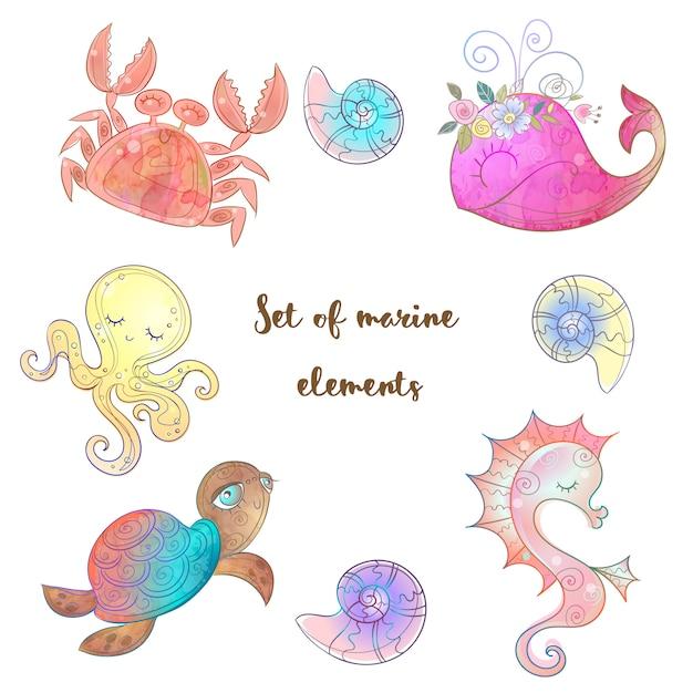 かわいい海の動物タコタツノオトシゴクジラとクラゲのセット。 Premiumベクター