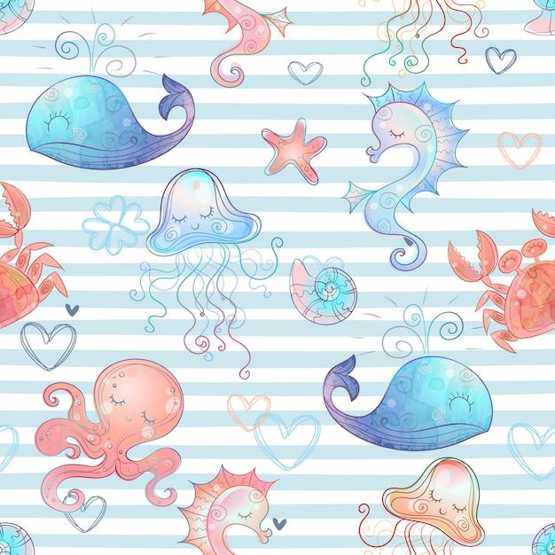 Бесшовный образец с милыми морскими животными на полосатом фоне. Premium векторы