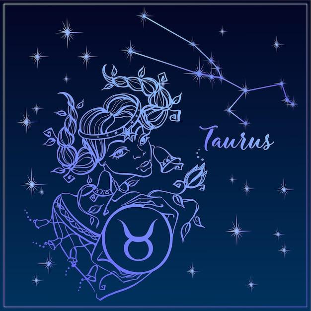 Знак зодиака телец как красивая девушка. созвездие тельца. Premium векторы