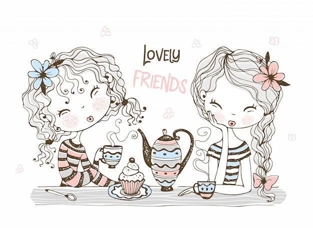 かわいいガールフレンドはお茶を飲みます。 Premiumベクター