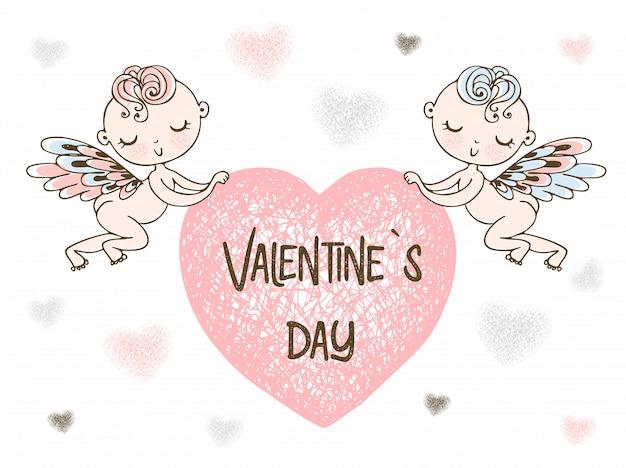 Купидоны несут большое сердце. с днем святого валентина. Premium векторы