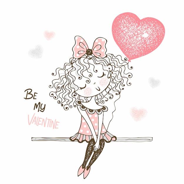 ハートの形をした風船でかわいい女の子。あなたは私のバレンタインです。 Premiumベクター