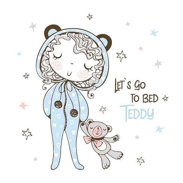 Милая девушка в пижаме в виде мишки собирается спать с игрушечным мишкой. Premium векторы