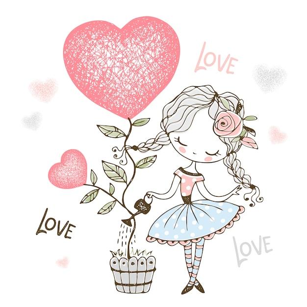 Прекрасная маленькая девочка поливает дерево в форме сердца в горшочке иллюстрации Premium векторы