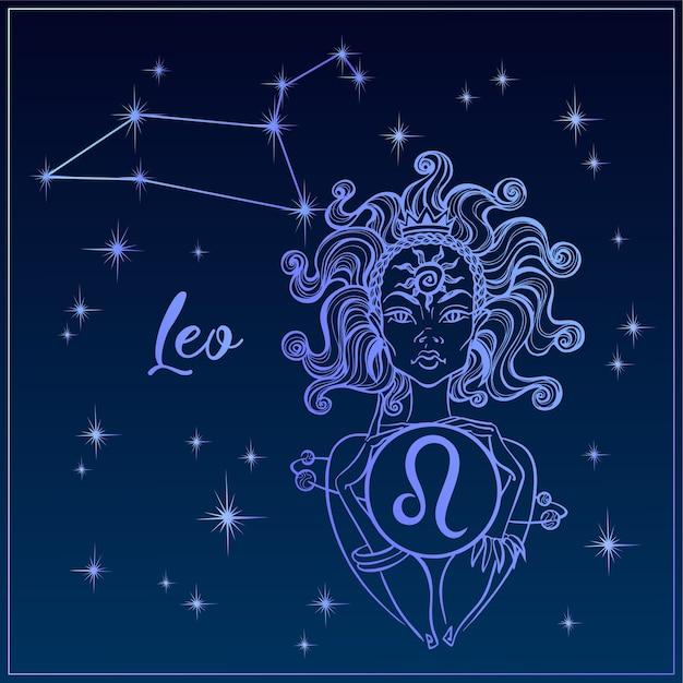 Знак зодиака лев красивая девушка. созвездие льва. Premium векторы