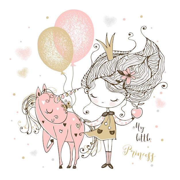 Маленькая милая принцесса с единорогом и воздушными шарами. Premium векторы