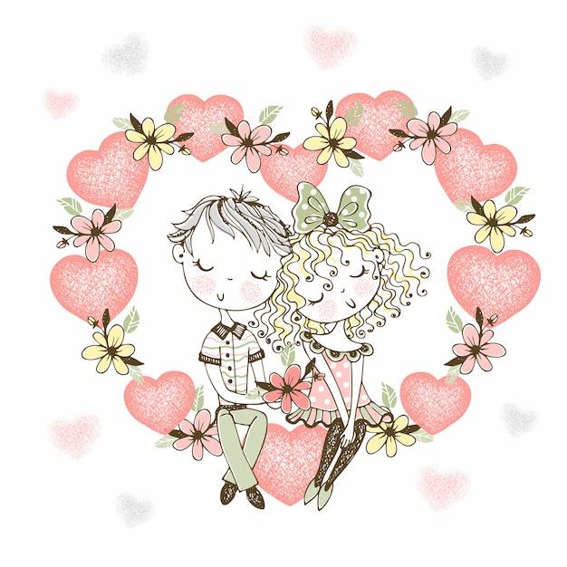 Девушка и влюбленный мальчик сидят в большом сердце цветов. Premium векторы