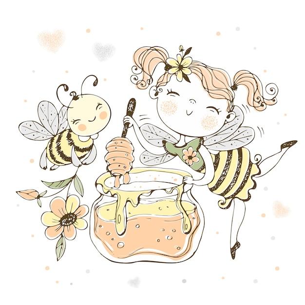 Цветочная фея с горшком меда и веселой пчелой. Premium векторы