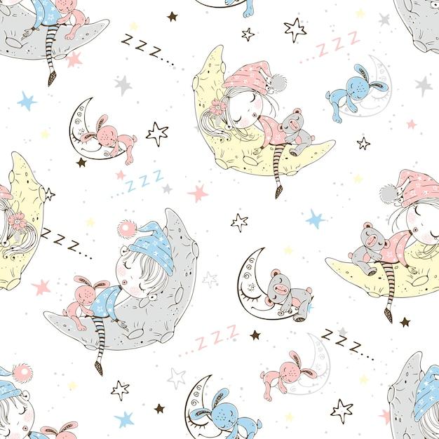 Бесшовный образец с милыми детьми в пижамах, которые спят в лунные месяцы. Premium векторы