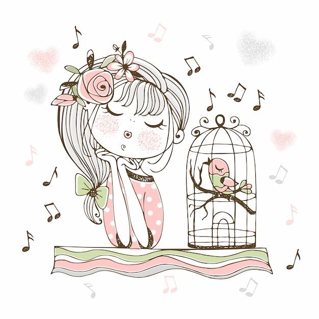 Милая девушка слушает пение птиц в клетке. Premium векторы