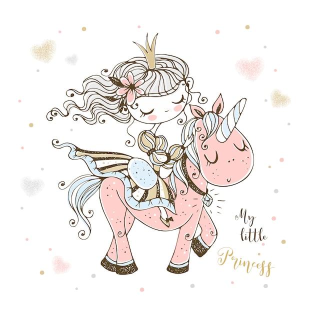 Сказочная милая принцесса едет на розовом единороге. Premium векторы
