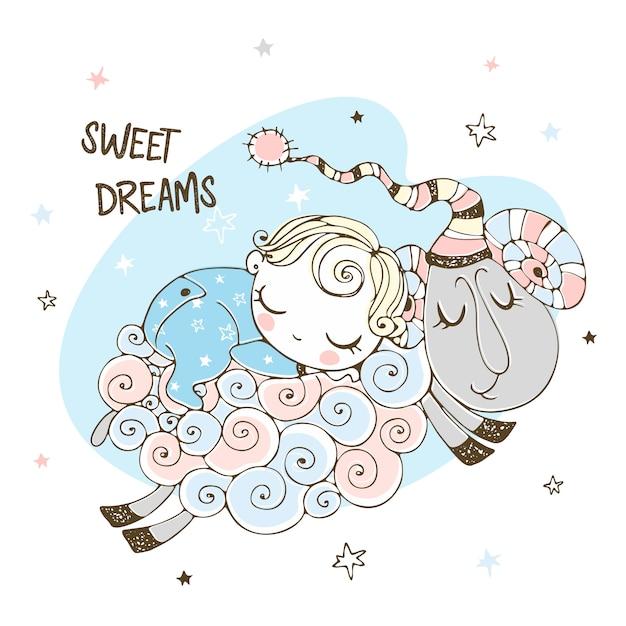 男の子は羊の上で甘く寝ています。ベビーシャワー。いい夢を。 Premiumベクター