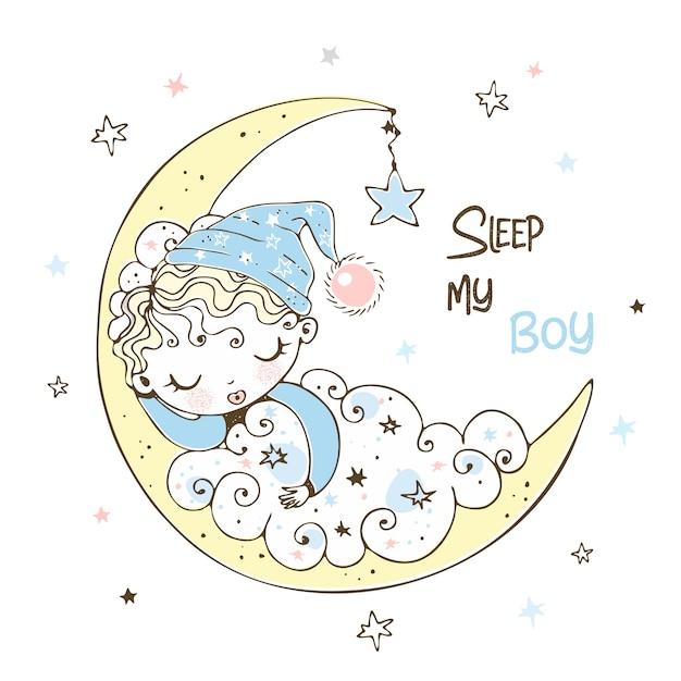 Милый ребёнок в крышке спать на луне. Premium векторы