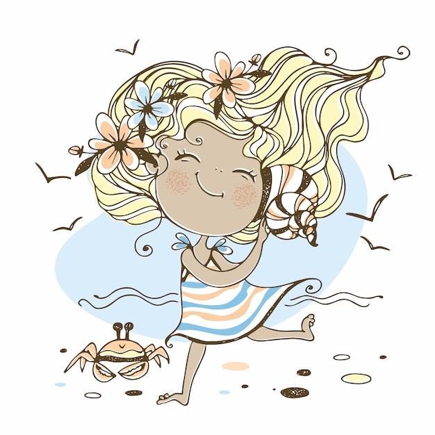 Летняя девушка иллюстрация Premium векторы