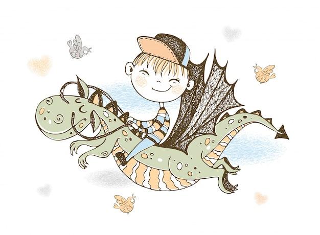 Маленький мальчик летит на сказочном драконе. Premium векторы