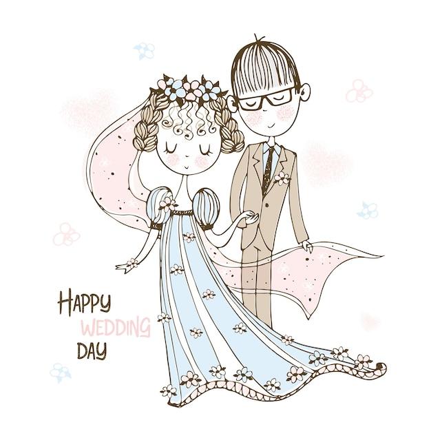 Жених и невеста на свадьбе. Premium векторы