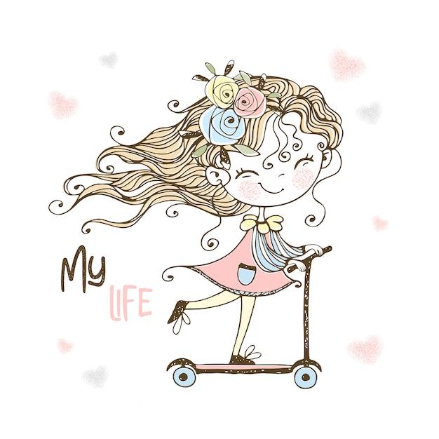 Маленькая милая девушка едет на скутере. Premium векторы