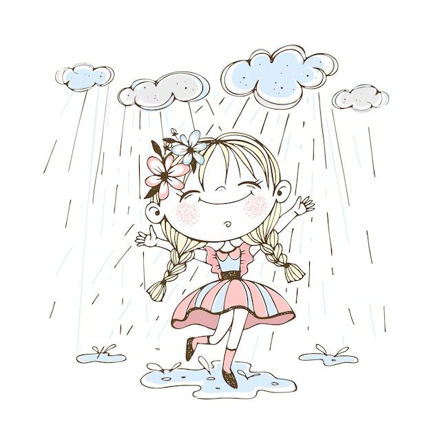 Маленькая милая девочка весело бежит по лужам под дождем. Premium векторы