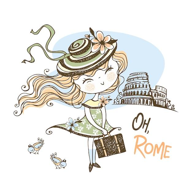 Хорошая девушка в шляпе путешествует по риму. путешествовать. Premium векторы