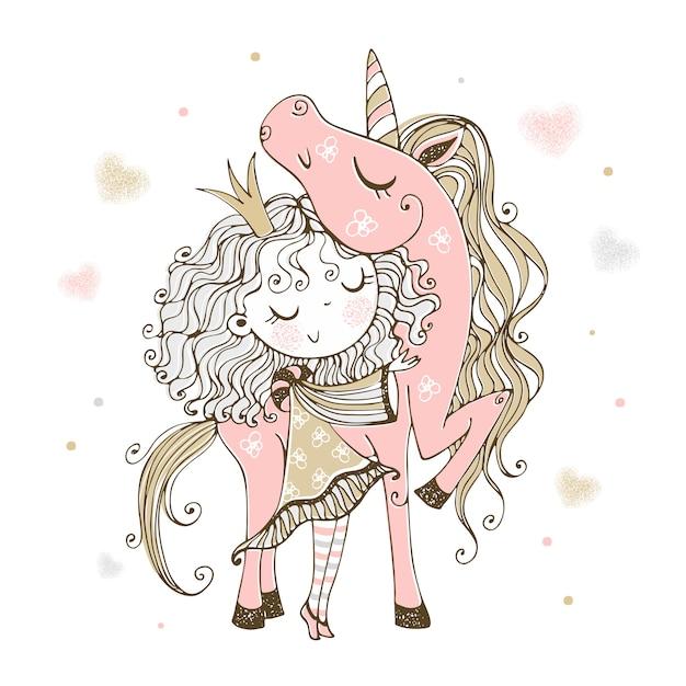 Милая маленькая принцесса с розовым единорогом. Premium векторы