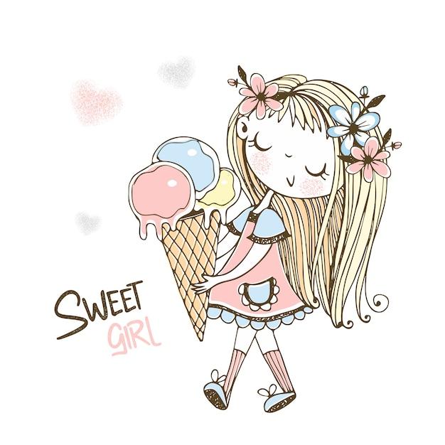 Милая маленькая девочка идет с большим мороженым. милая девушка. Premium векторы