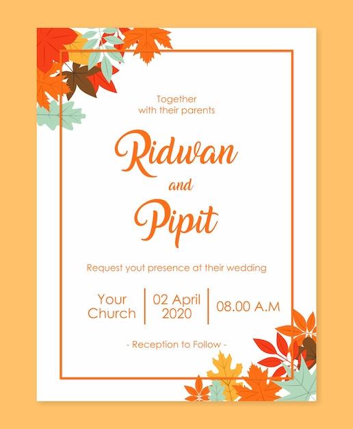 Шаблон свадебного приглашения с красивыми цветами Premium векторы
