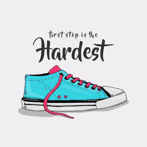 Слоган с иллюстрацией пастельных кроссовок Premium векторы