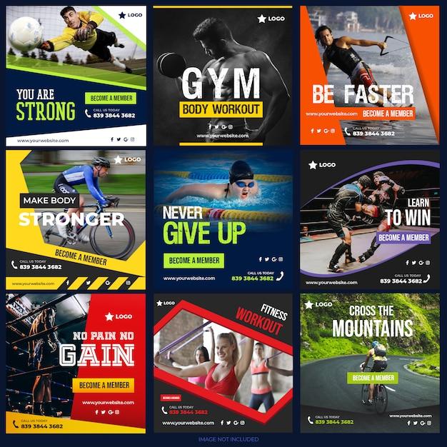 Спортивные посты в социальных сетях для цифрового маркетинга Premium векторы