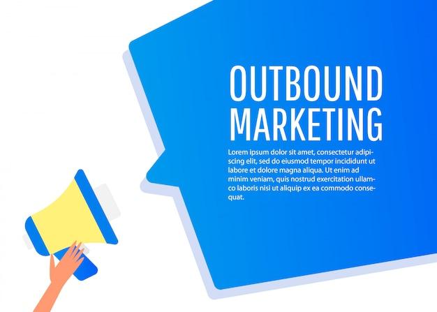 アウトバウンドマーケティング。メガホンのラベル。ビジネス、マーケティング、広告のバナー。 Premiumベクター