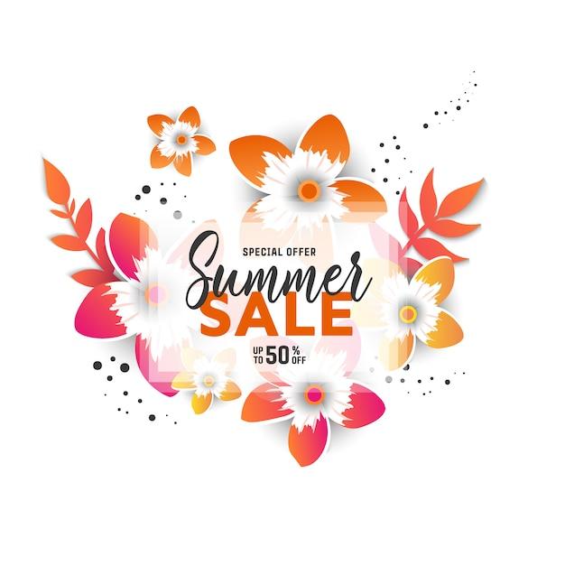 花とバナーの夏販売背景レイアウト Premiumベクター