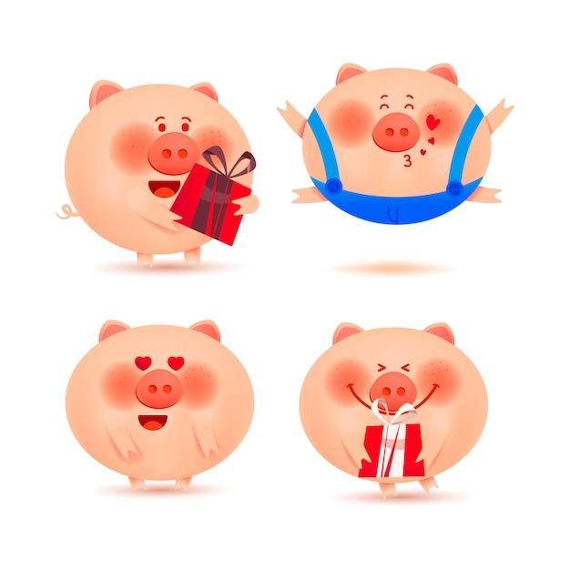 Рождественские свиньи. набор веселых и милых поросят для украшения Premium векторы