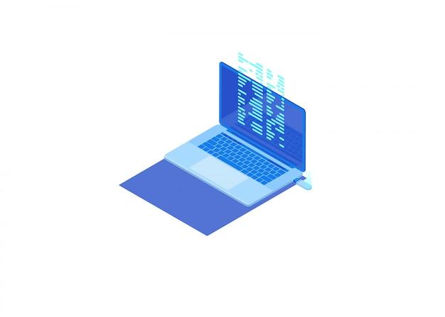 フラッシュドライブからラップトップへのファイル転送 Premiumベクター