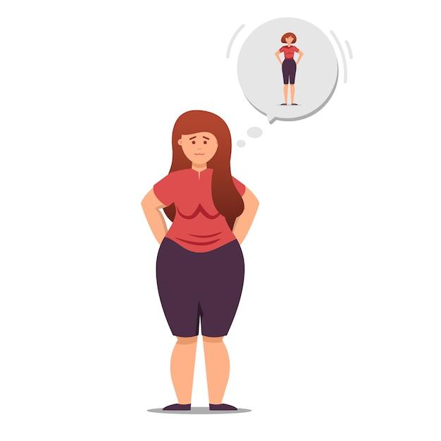 Девушка думает о похудении и похудении Premium векторы