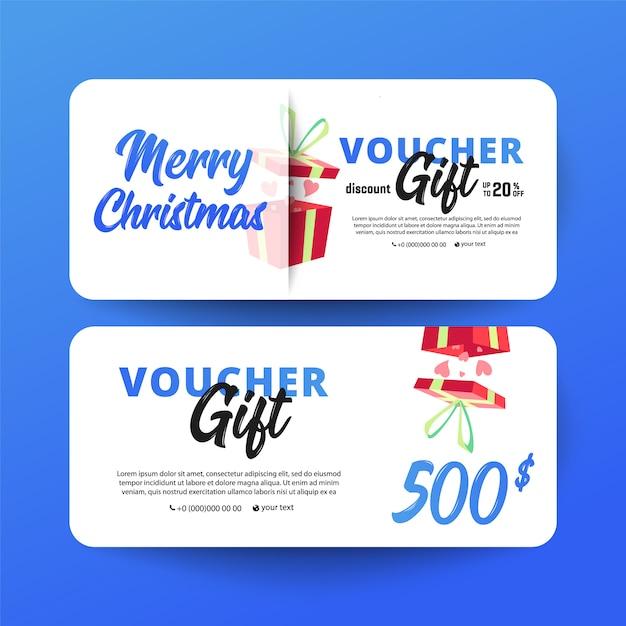Рождественский и новогодний подарочный ваучер Premium векторы