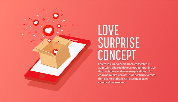 Онлайн заказ состав изометрического смартфона с крафт-бумаги секретной подарочной коробке. интернет-магазин концепции. Premium векторы