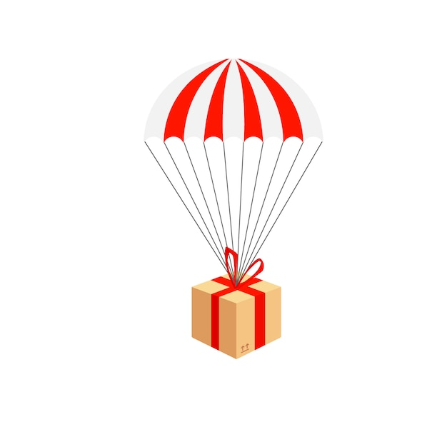 Служба доставки. состав доставки посылок с парашютом. парашют с посылкой, подарок в небе. Premium векторы