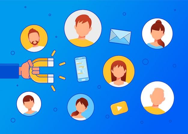 Цифровой входящий маркетинг. Premium векторы