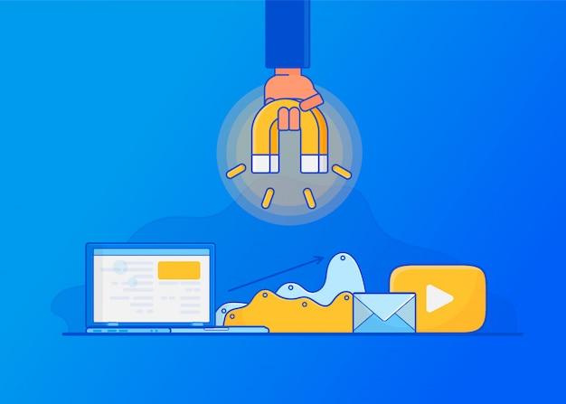 オンライン顧客を獲得する。デジタルインバウンドマーケティング、 Premiumベクター