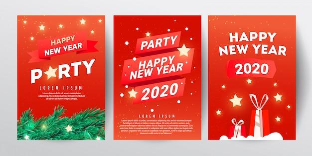 Шаблон оформления рождественской вечеринки с веткой елки, звездами и красными подарками на красном фоне Premium векторы