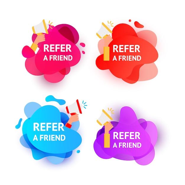 友人のメッセージを参照してグラデーション色波液体形状の泡。 Premiumベクター