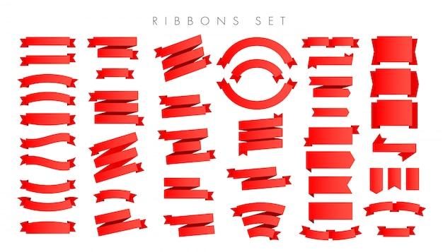 Современные новые градиент красные ленты изолированы Premium векторы