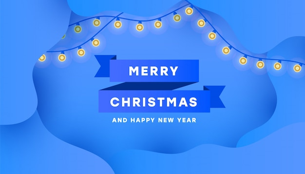 С рождеством и новым годом постер с минимальной синей лентой и гирляндой Premium векторы