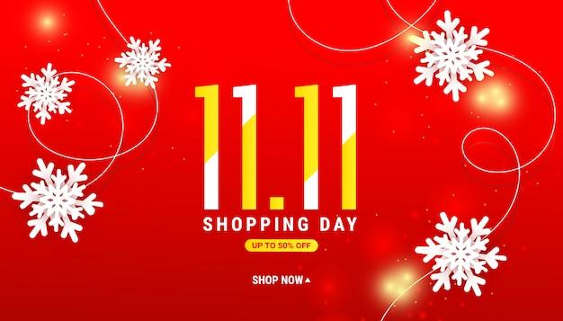 紙でショッピング日冬販売バナーカット白い雪、赤にゴールドのグリッター Premiumベクター