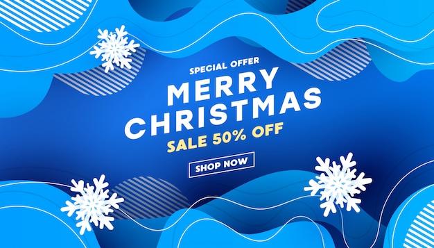 Рождественская декоративная композиция с жидкой формой волны с тенями на синем фоне с текстом для баннера Premium векторы