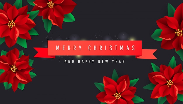 赤いリボンとポインセチアの花と創造的なクリスマスの背景 Premiumベクター